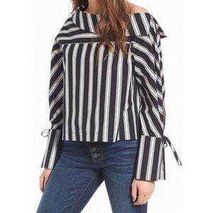 Topshop Black Striped Off Shoulder Blouse